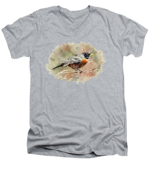 Men's V-Neck T-Shirt featuring the mixed media American Robin - Watercolor Art by Christina Rollo