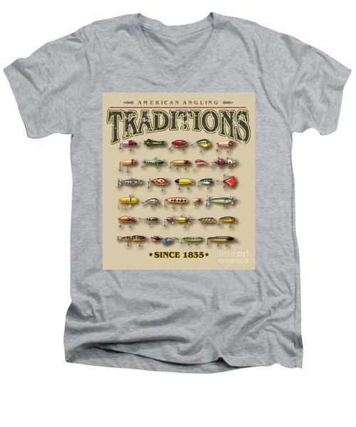 Men's V-Neck T-Shirt featuring the painting American Traditions Lures by JQ Licensing Jon Q Wright