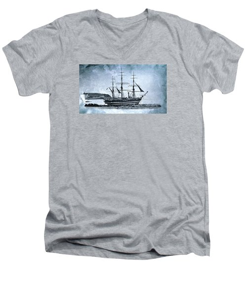 Amerigo Vespucci Sailboat In Blue Men's V-Neck T-Shirt by Pedro Cardona