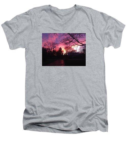 Amethyst Sunset Men's V-Neck T-Shirt by Rebecca Wood