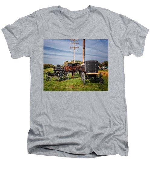 Amish At The Auction Men's V-Neck T-Shirt