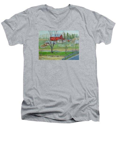 Amish Farm Men's V-Neck T-Shirt by Oz Freedgood