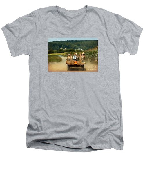 Amish Farmer Three Horses Men's V-Neck T-Shirt