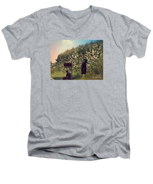 Amish Girls Watermelon Break Men's V-Neck T-Shirt