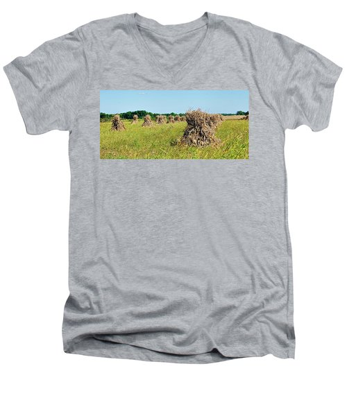 Men's V-Neck T-Shirt featuring the photograph Amish Harvest by Cricket Hackmann