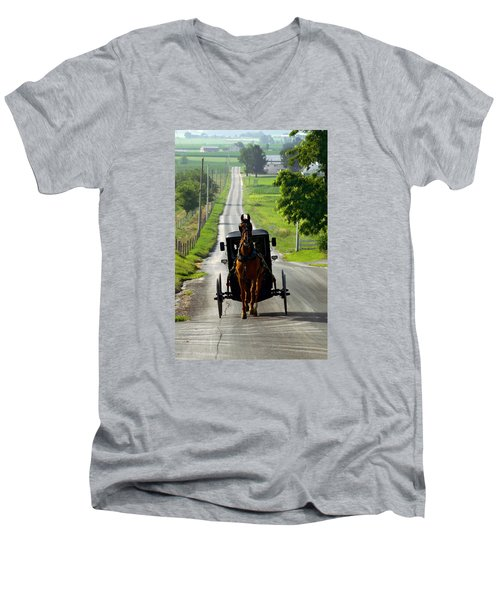 Amish Morning Commute Men's V-Neck T-Shirt by Lawrence Boothby