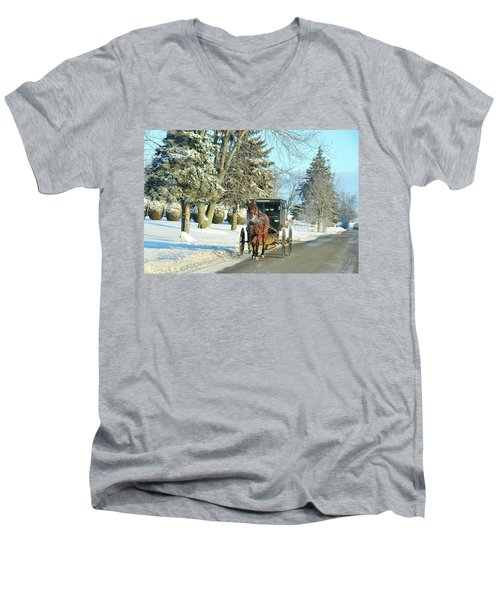 Amish Winter Men's V-Neck T-Shirt