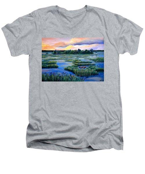 Amongst The Reeds Men's V-Neck T-Shirt by Renate Nadi Wesley