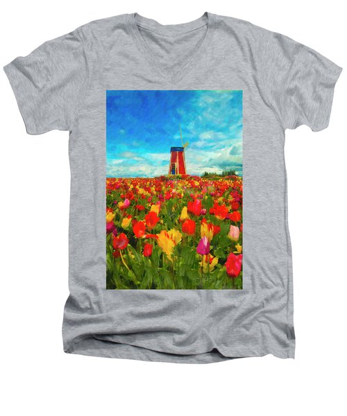 Amongst The Tulips Men's V-Neck T-Shirt