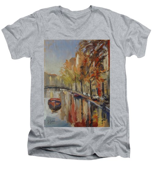 Amsterdam Autumn With Boat Men's V-Neck T-Shirt