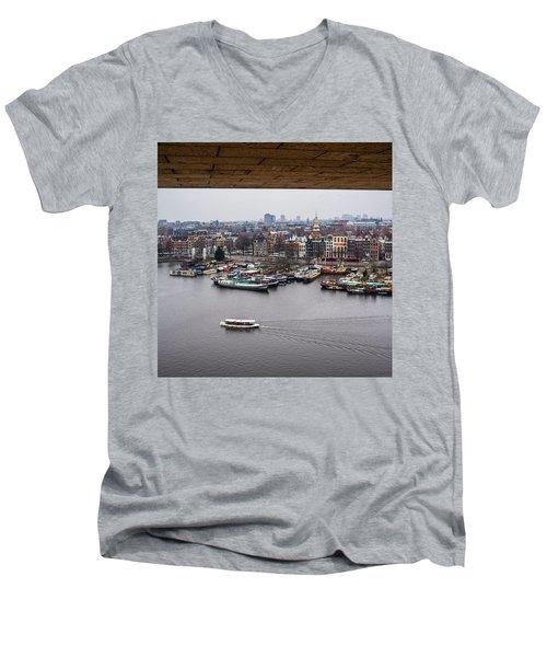 Amsterdam Skyline Men's V-Neck T-Shirt by Aleck Cartwright