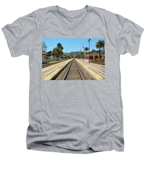 Amtrak Station, Santa Barbara, California Men's V-Neck T-Shirt