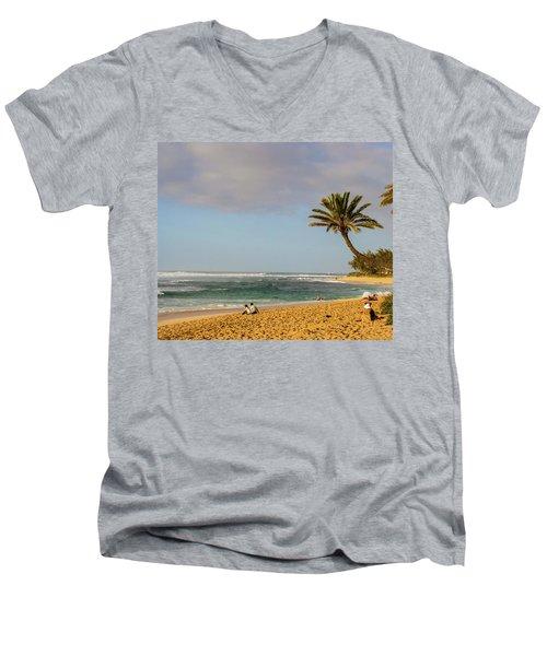 An Afternoon At Sunset Beach Men's V-Neck T-Shirt