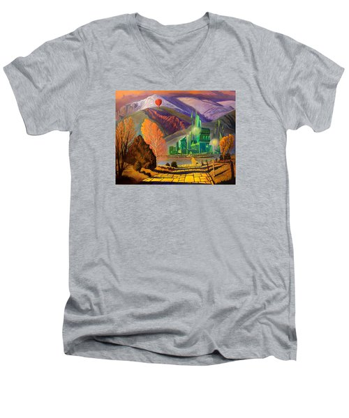 Men's V-Neck T-Shirt featuring the painting Oz, An American Fairy Tale by Art West