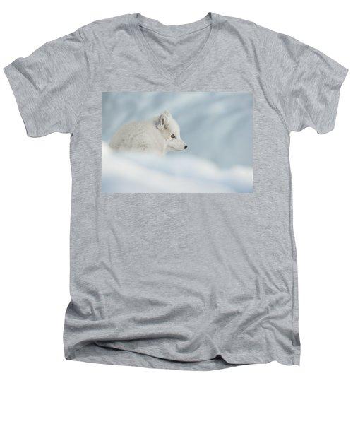An Arctic Fox In Snow. Men's V-Neck T-Shirt