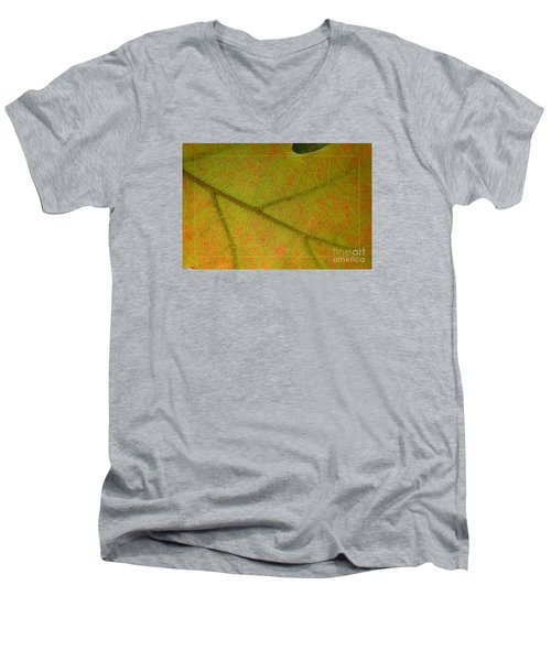 Men's V-Neck T-Shirt featuring the photograph An Autumn Leaf by Jean Bernard Roussilhe