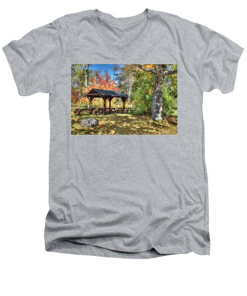 Men's V-Neck T-Shirt featuring the photograph An Autumn Picnic In Maine by Shelley Neff