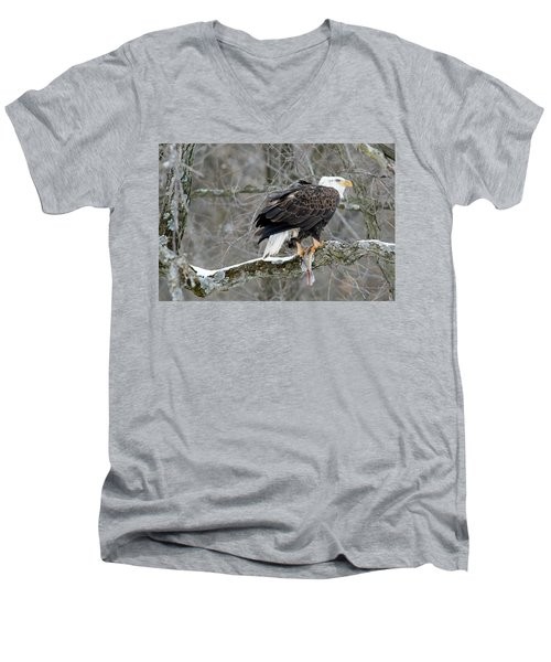 An Eagles Catch Men's V-Neck T-Shirt by Brook Burling