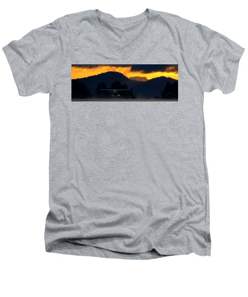 Men's V-Neck T-Shirt featuring the photograph An Early Departure by Mark Alan Perry