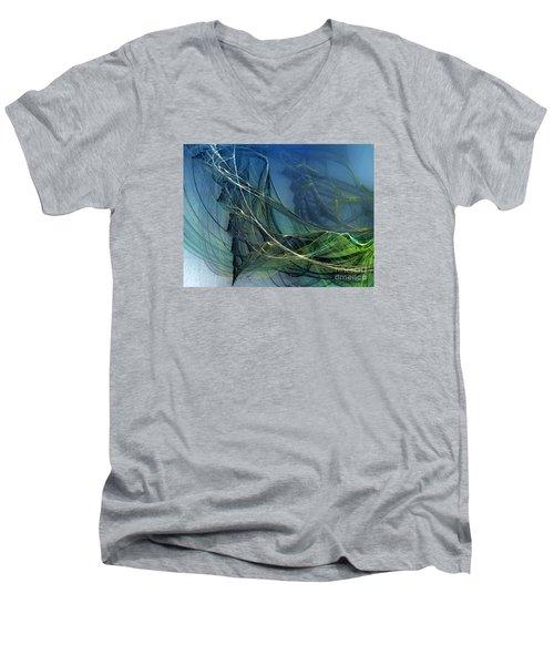 Men's V-Neck T-Shirt featuring the digital art An Echo Of Speed by Karin Kuhlmann