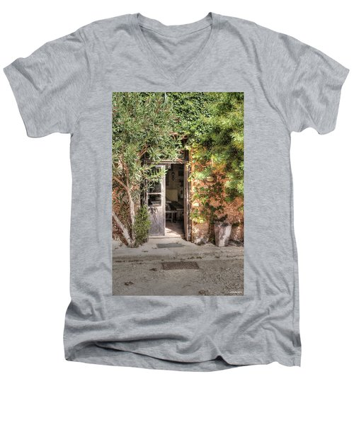 Men's V-Neck T-Shirt featuring the photograph An Entrance In Santorini by Tom Prendergast