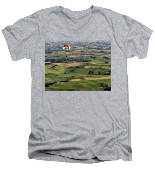 An Evening Flight Agriculture Art By Kaylyn Franks Men's V-Neck T-Shirt