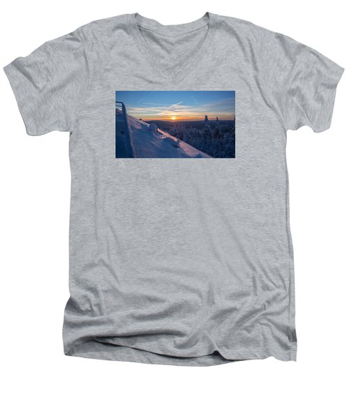 an evening on the Achtermann, Harz Men's V-Neck T-Shirt by Andreas Levi