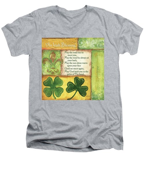 Men's V-Neck T-Shirt featuring the painting An Irish Blessing by Debbie DeWitt