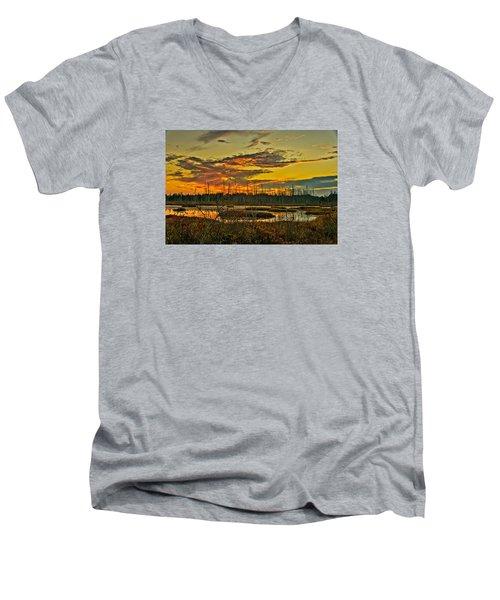 An November Sunset In The Pines Men's V-Neck T-Shirt