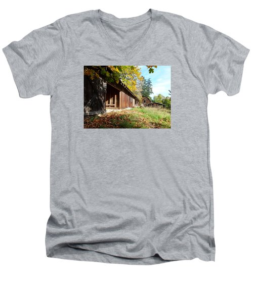 Men's V-Neck T-Shirt featuring the photograph An Old Farm by Mark Alan Perry