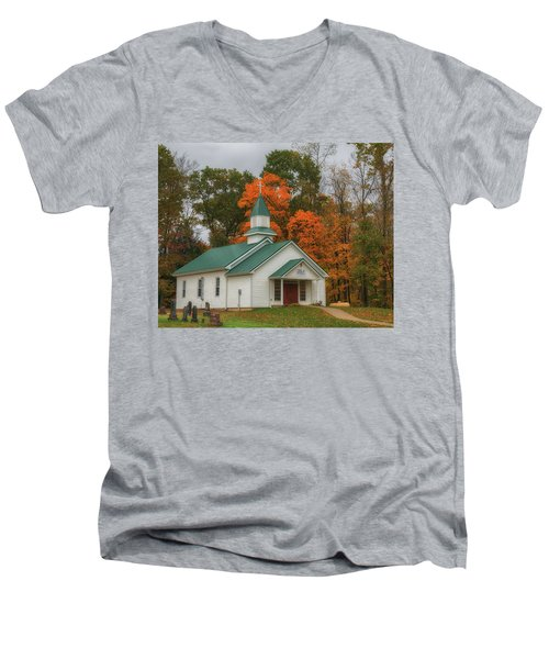 An Old Ohio Country Church In Fall Men's V-Neck T-Shirt