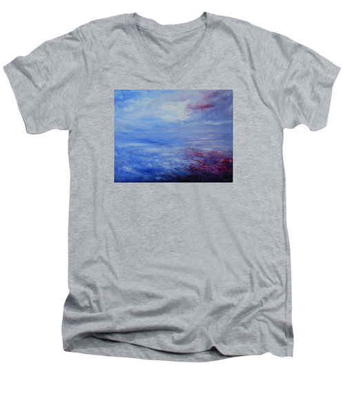 Men's V-Neck T-Shirt featuring the painting An Unspoken Message by Jane See