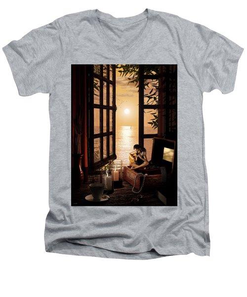 Men's V-Neck T-Shirt featuring the digital art Ana by Shinji K