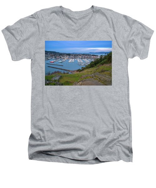 Anacortes Peaceful Morning Men's V-Neck T-Shirt by Ken Stanback