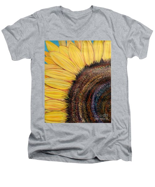 Men's V-Neck T-Shirt featuring the painting Anatomy Of A Sunflower by Ecinja Art Works