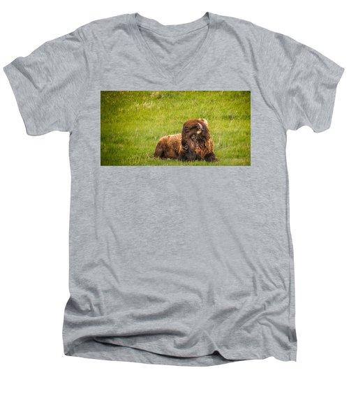 Men's V-Neck T-Shirt featuring the photograph Ancient Bison by Rikk Flohr