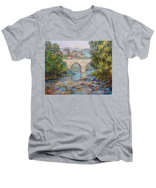 Men's V-Neck T-Shirt featuring the painting Ancient Bridge by Lou Ann Bagnall