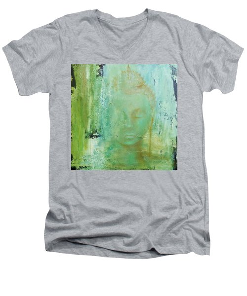Ancient Buddha Men's V-Neck T-Shirt by Dina Dargo