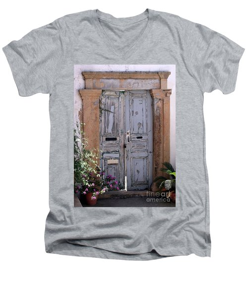 Ancient Garden Doors In Greece Men's V-Neck T-Shirt