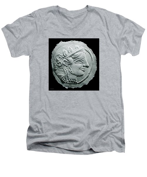 Ancient Greek Relief Seal Drawing Men's V-Neck T-Shirt by Suhas Tavkar