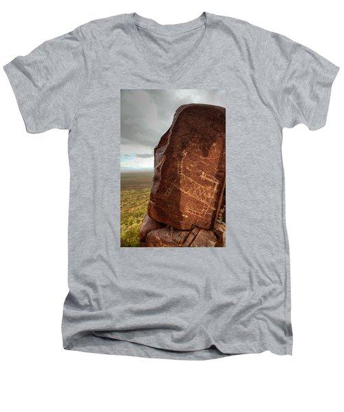 Ancient Petroglyph At Three Rivers Petroglyph Site Men's V-Neck T-Shirt