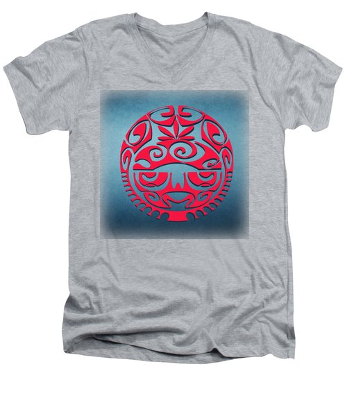 Ancient Tribal Red Mask Men's V-Neck T-Shirt