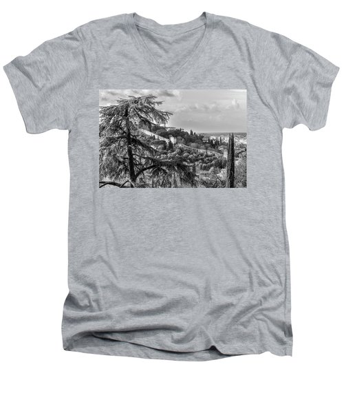 Men's V-Neck T-Shirt featuring the photograph Ancient Walls Of Florence-bandw by Sonny Marcyan