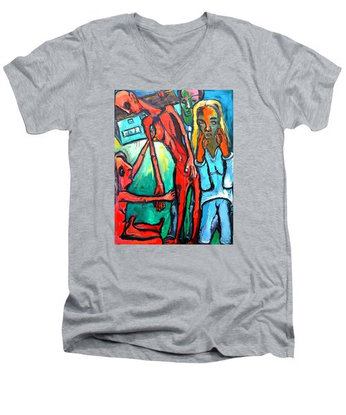 Men's V-Neck T-Shirt featuring the painting And Remember To Be Kind by Kenneth Agnello