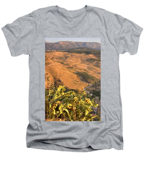 Men's V-Neck T-Shirt featuring the photograph Andalucian Golden Valley by Ian Middleton