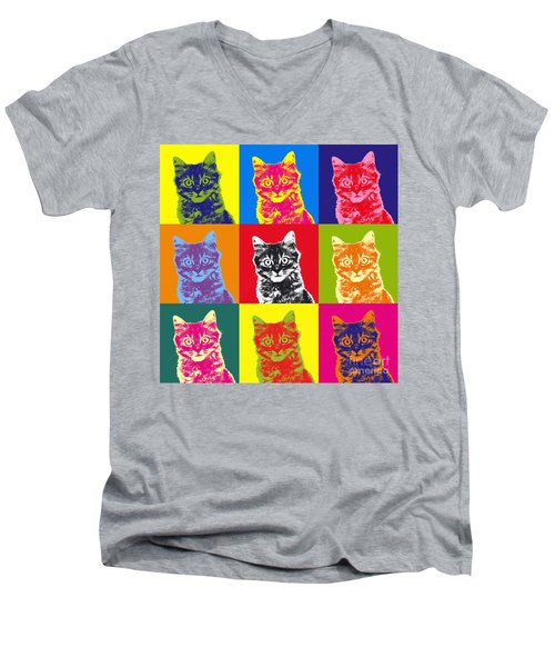 Andy Warhol Cat Men's V-Neck T-Shirt