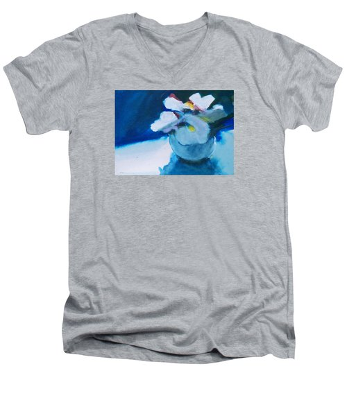 Men's V-Neck T-Shirt featuring the painting Anemones by Ed  Heaton