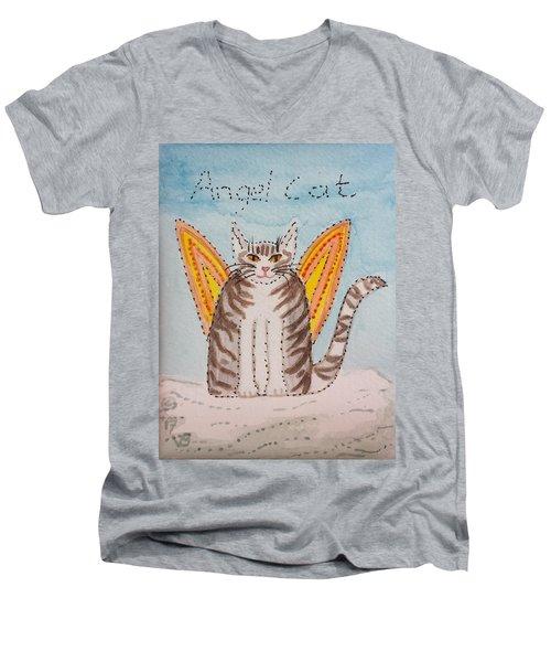 Angel Cat Men's V-Neck T-Shirt