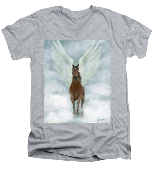 Angel Horse Running Free Across The Heavens Men's V-Neck T-Shirt