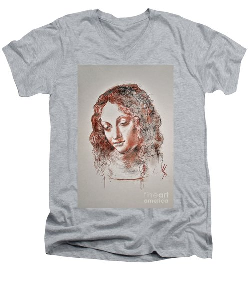 Angel Madonna Men's V-Neck T-Shirt by Maja Sokolowska